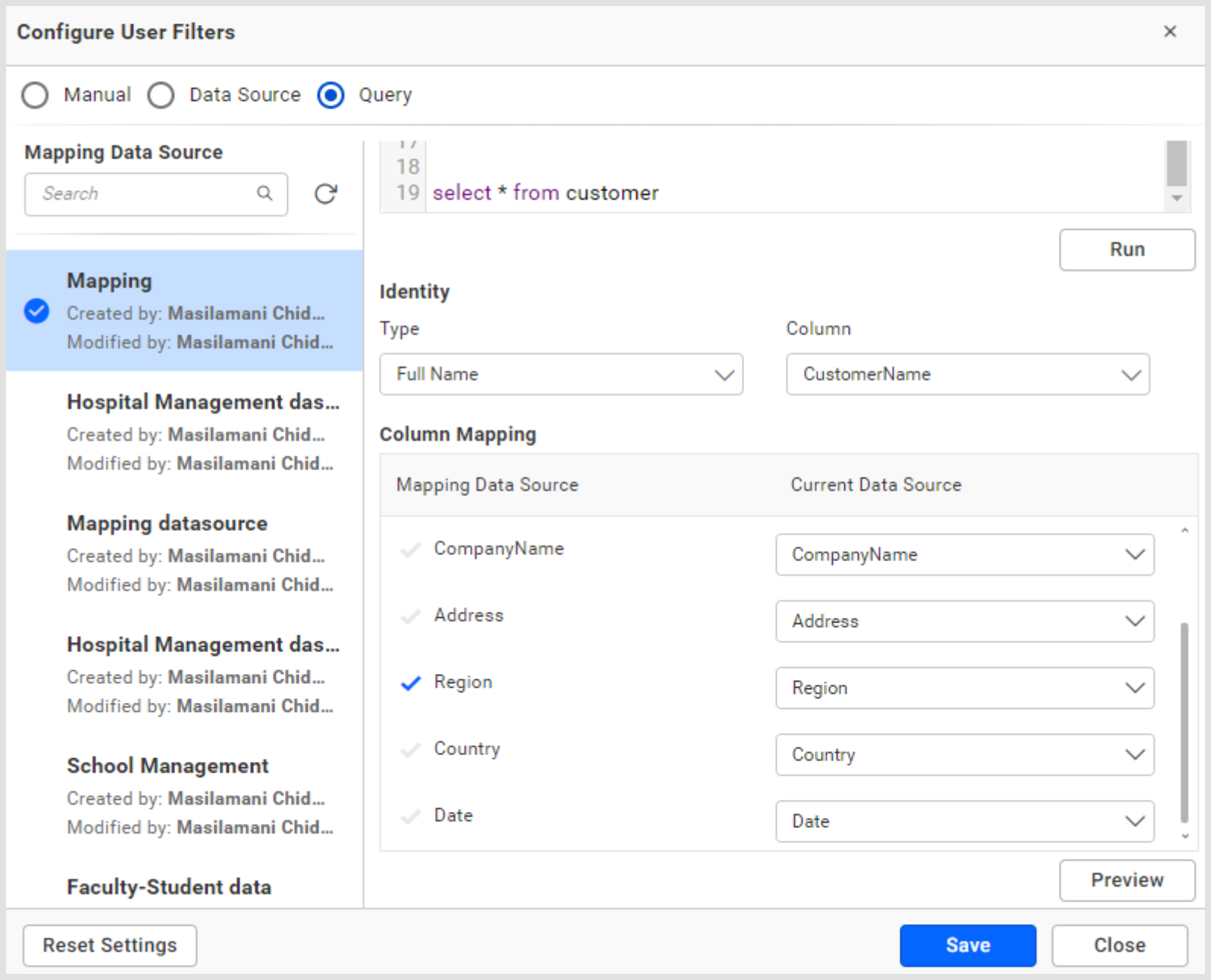 Configuring User Filter in Query Mode