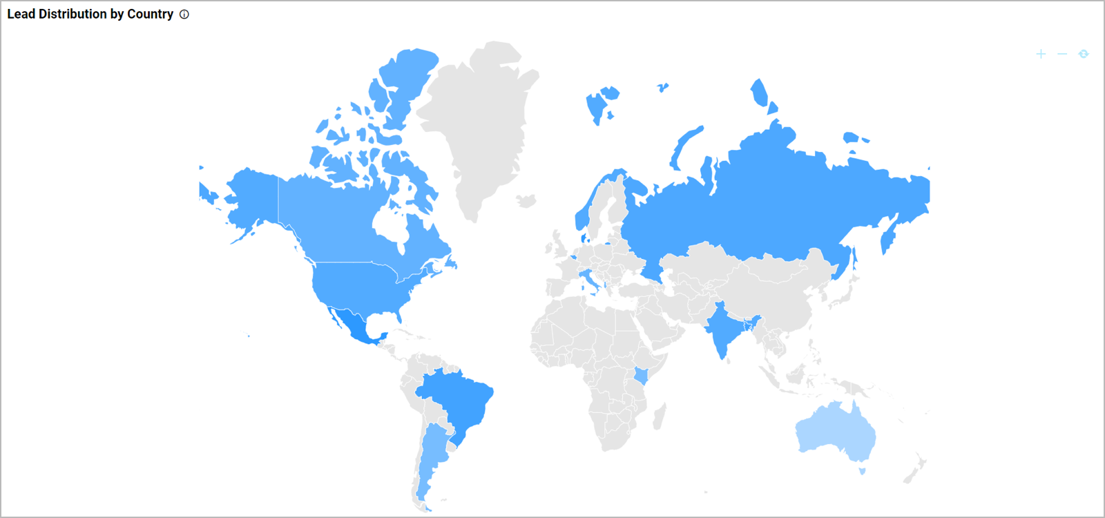 Lead Distribution by Country in Sales Marketing Leads Dashboard