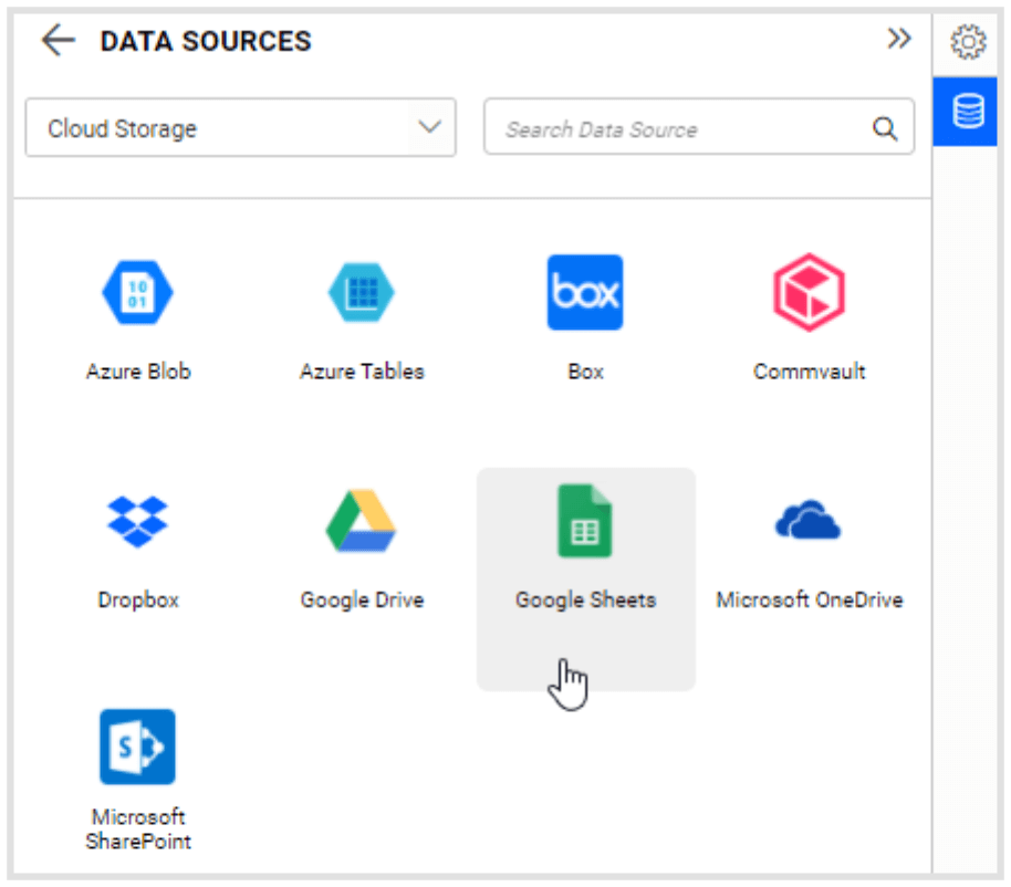 Cloud Storage listing page
