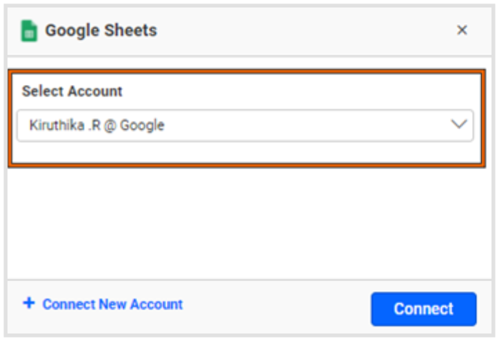 Window for choosing a Google account