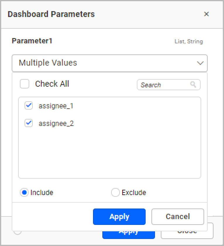 Showing parameter values with a user-based filter