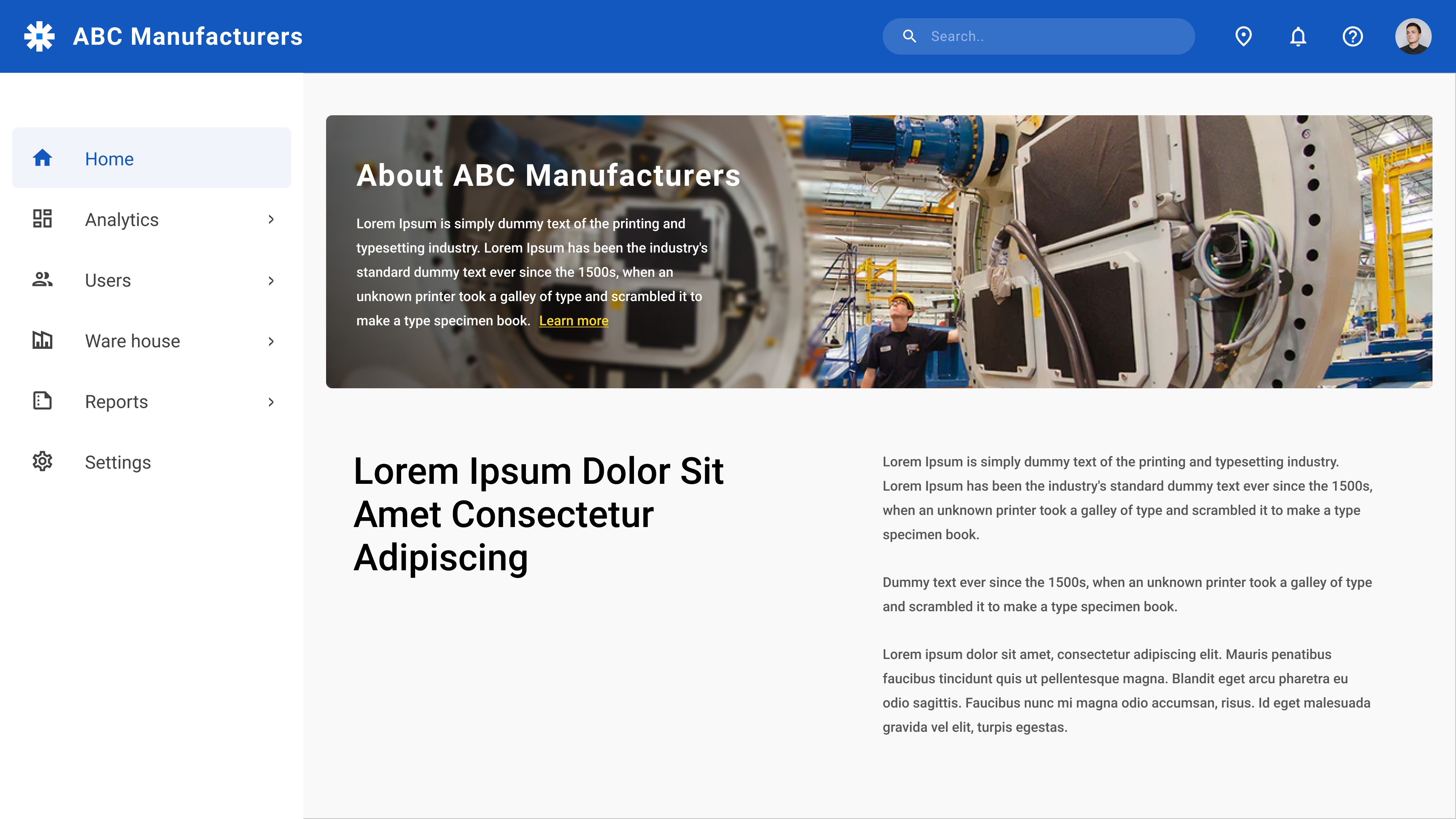 Sample Website of a Manufacturing Company