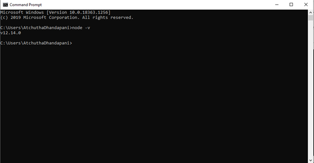 Checking Node version in a command prompt