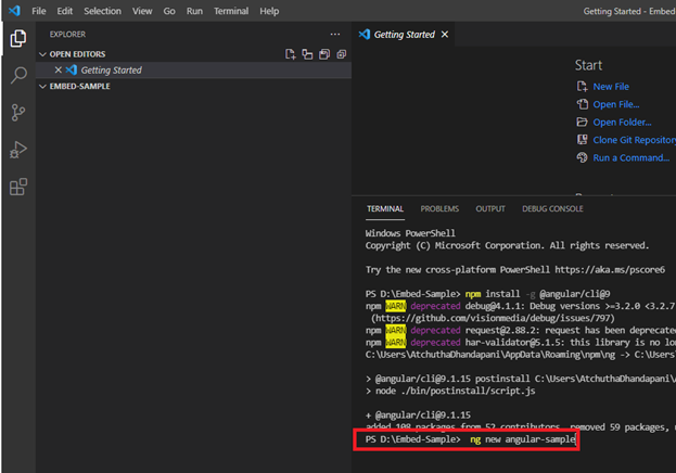 Creating a new project in Visual Studio Code