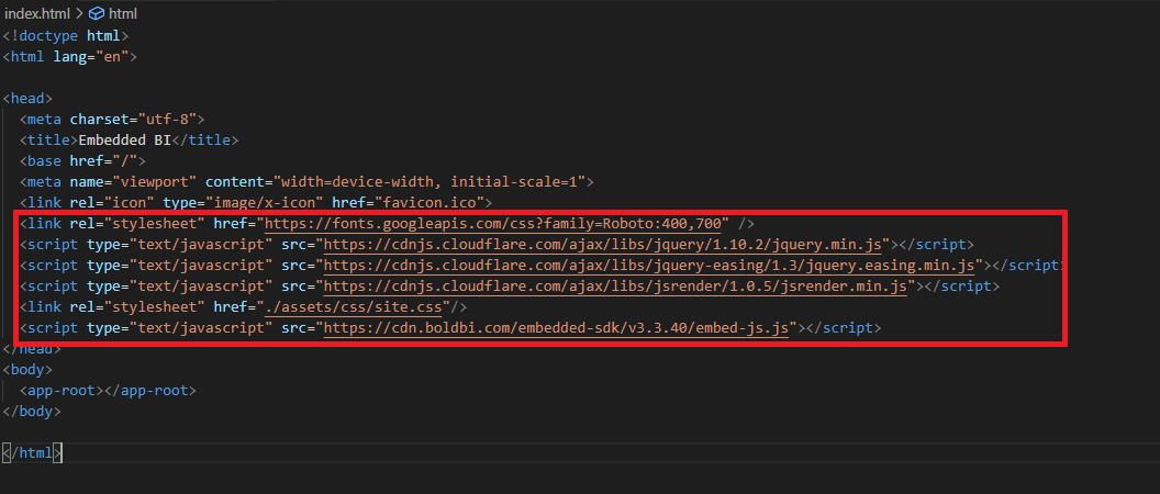 Adding the script and style references in the index.html file