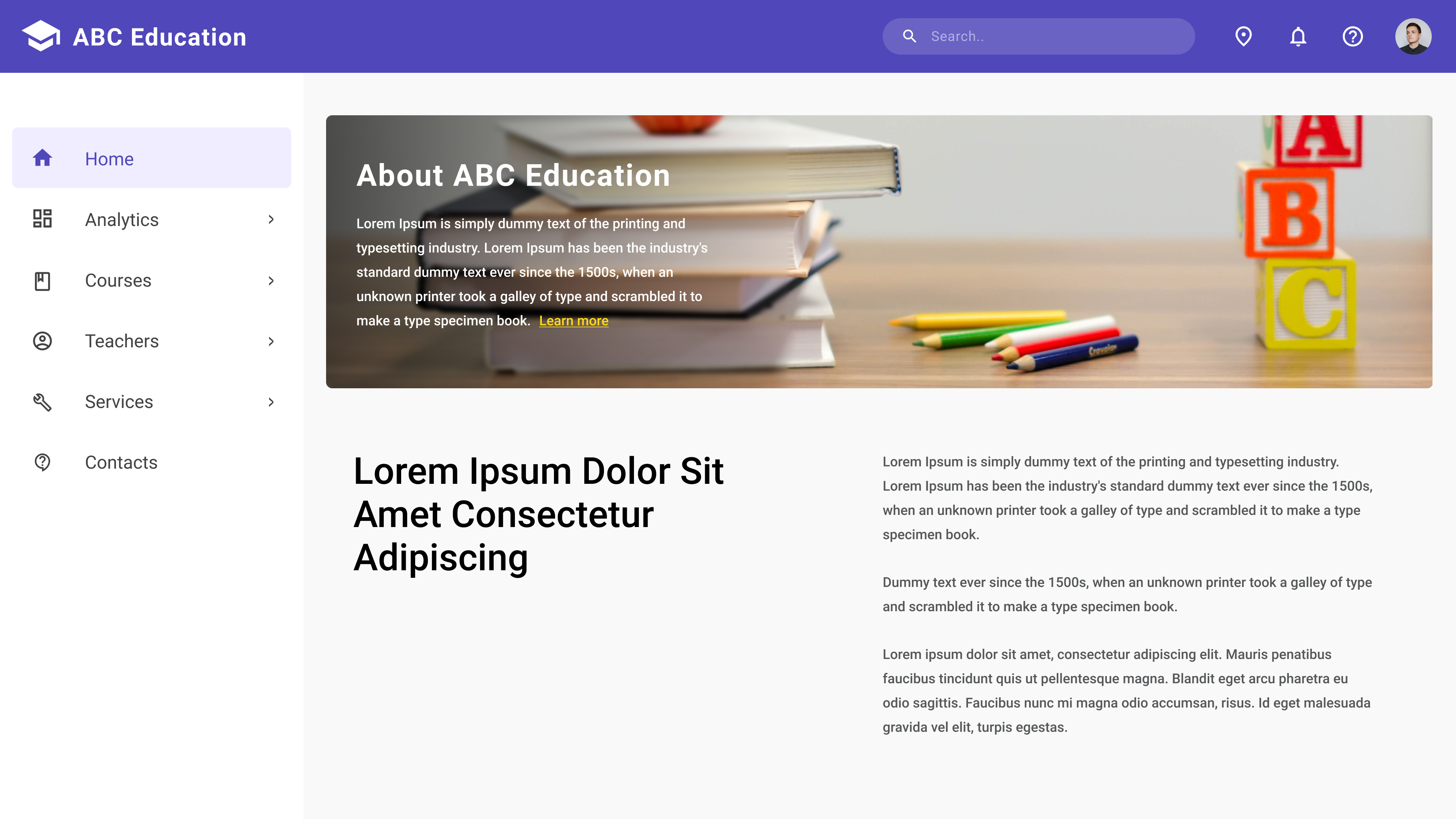 Sample Website of an Educational Institution
