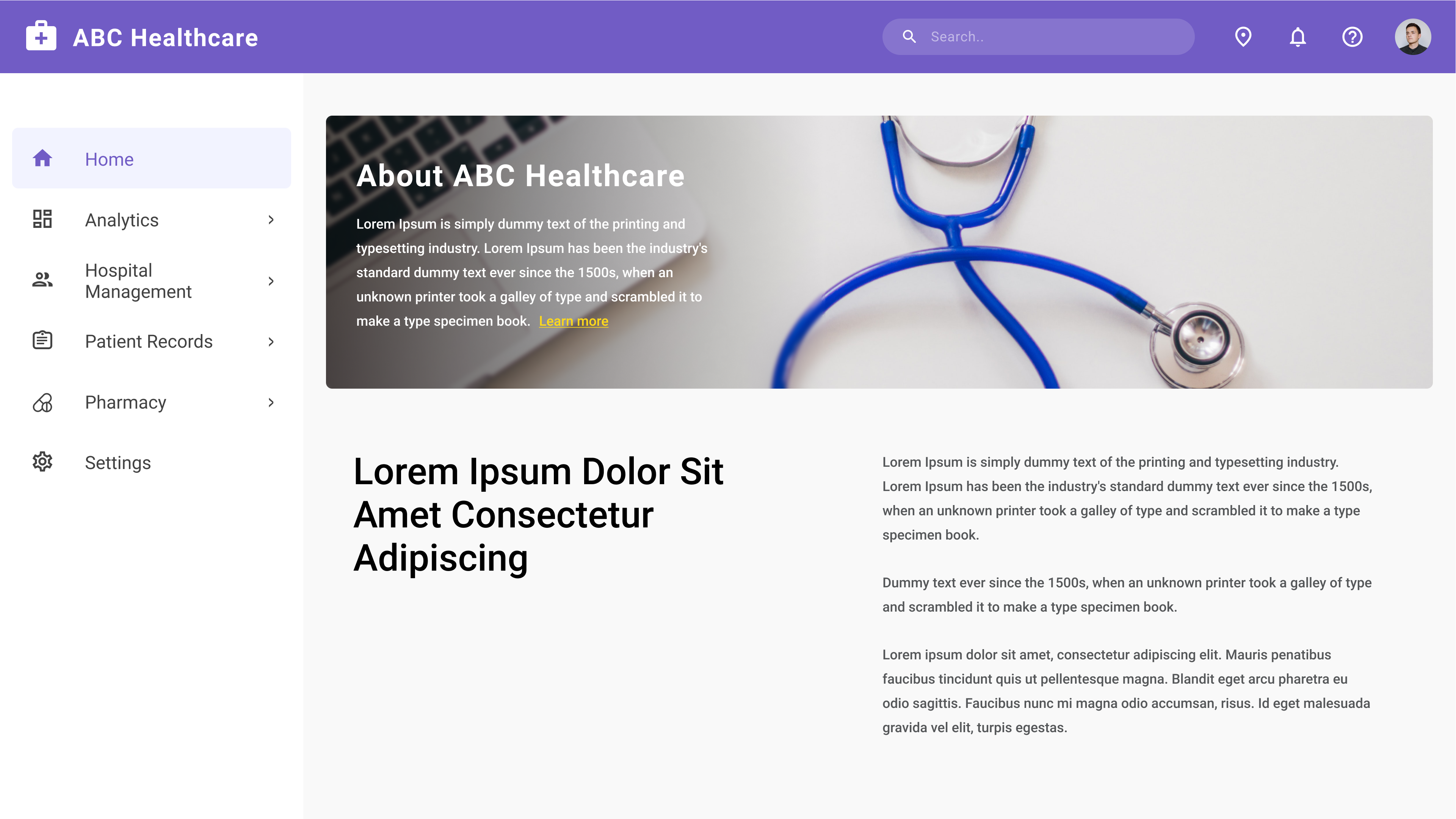 Sample Website of a Healthcare Company