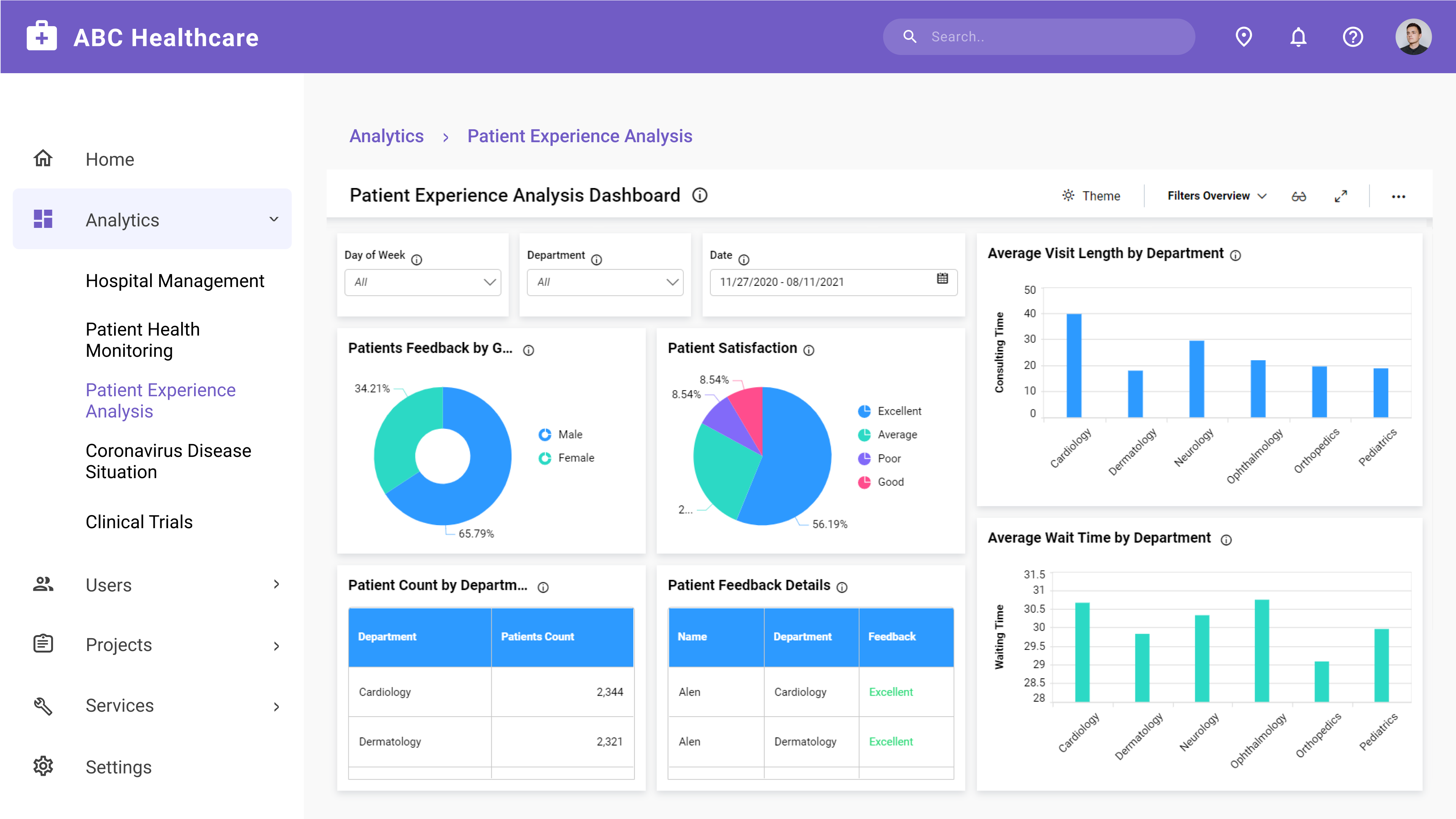 Patient Experience Analysis Dashboard Embedded in an ASP.NET MVC Application